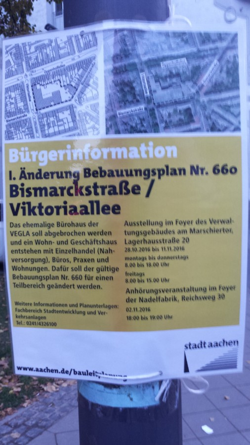 Bürgerinformation zum geplanten VEGLA-Haus-Abriss.