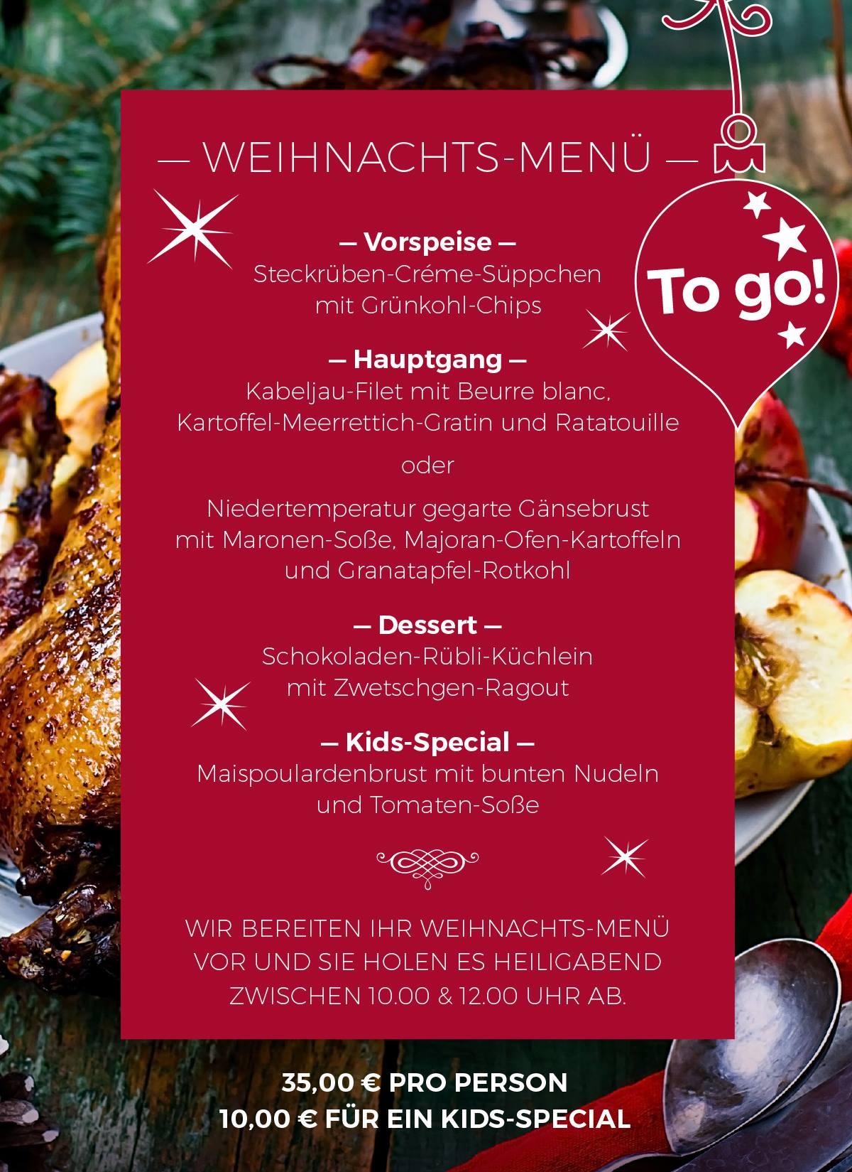 Auch dieses Jahr kocht das Restaurant RED wieder ein Weihnachtsmenü für euch. Abgeholt werden kann es am Heilig Abend zwischen 10-12h.