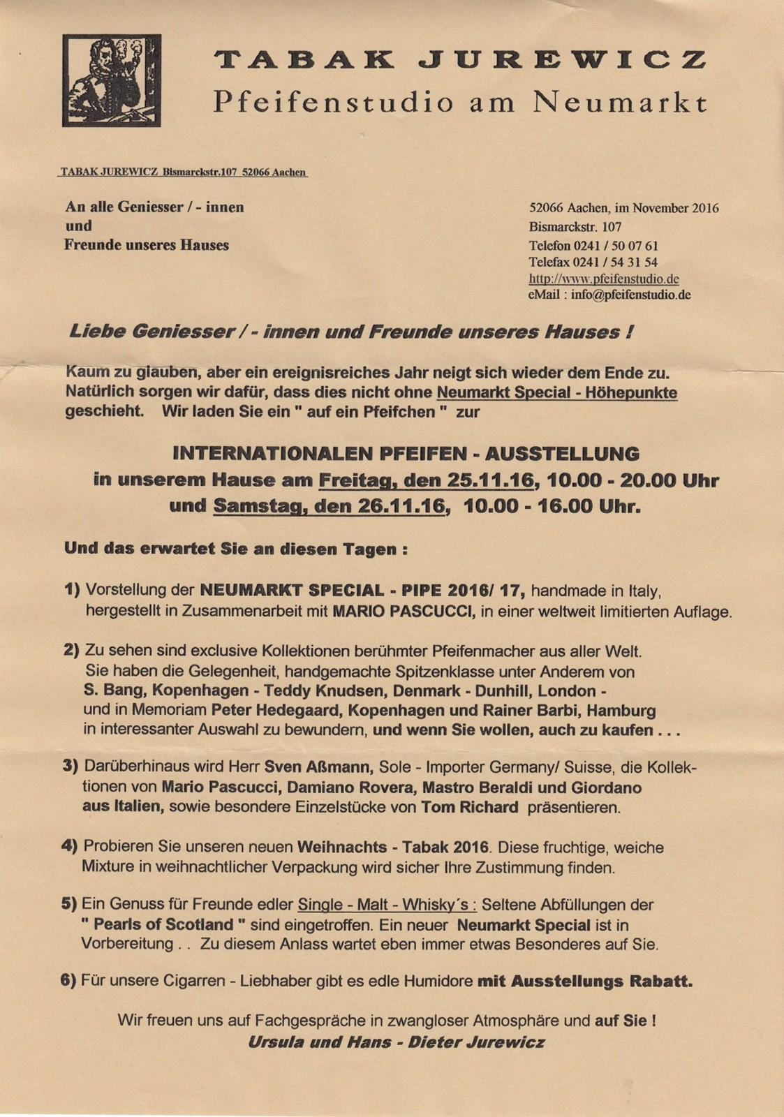 Pflichttermin(e) am 25. und 26.11.2016 bei Tabak Jurewicz auf der Bismarckstr. 107